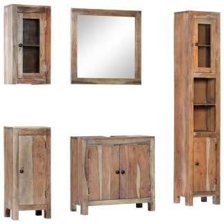 vidaXL Vonios kambario baldų komplektas, 5d., akacijos med. masyvas