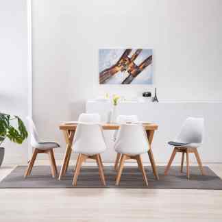 vidaXL Valgomojo kėdės, 6 vnt., baltos ir juodos spalvos