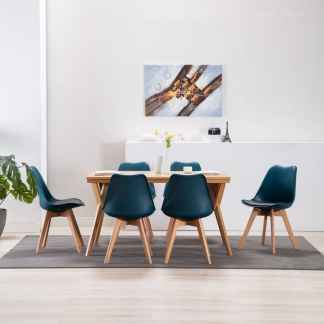 vidaXL Valgomojo kėdės, 6 vnt., turkio ir juodos spalvos