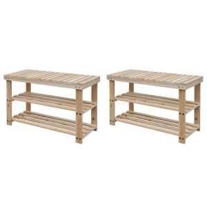 vidaXL Batų lentynos-suoliukai, 2vnt., medienos masyvas, 2-1