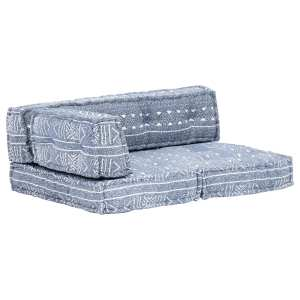 vidaXL Pagalvėlė sofai iš palečių, indigo sp., audinys, skiautinė