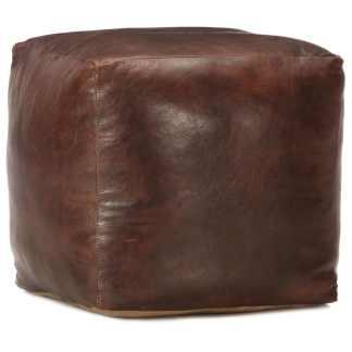 vidaXL Pufas, tamsiai rudas, 40x40x40cm, tikra ožkos oda