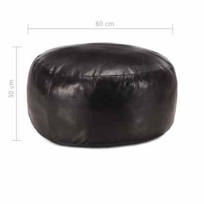 Pufas, juodos spalvos, 60×30 cm, tikra ožkos oda