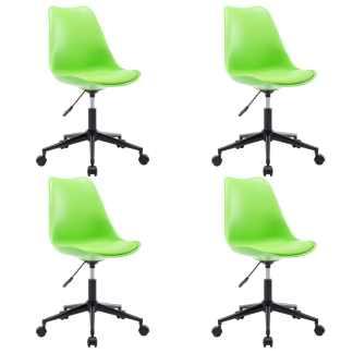 vidaXL Besisukančios valgomojo kėdės, 4vnt., žalios, dirbtinė oda