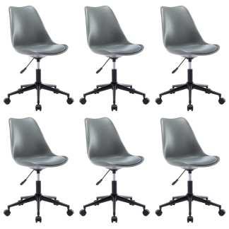 vidaXL Besisukančios valgomojo kėdės, 6vnt., pilkos, dirbtinė oda