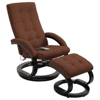 vidaXL Atlošiamas masažinis krėslas su pakoja, rud. sp., zomša