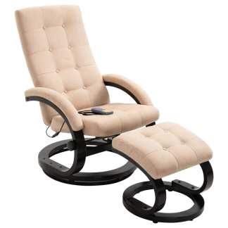 vidaXL Atlošiamas masažinis krėslas su pakoja, krem. sp., zomša