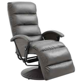 vidaXL Atlošiamas TV krėslas, pilkos spalvos, dirbtinė oda