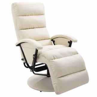 vidaXL Atlošiamas TV krėslas, kreminės spalvos, dirbtinė oda
