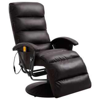 vidaXL Atlošiamas masažinis TV krėslas, rudos sp., dirbtinė oda