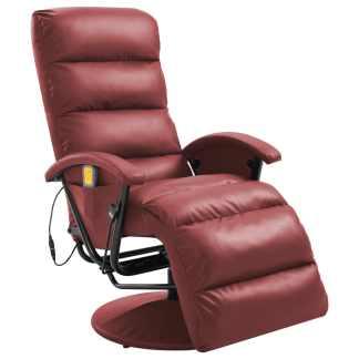 vidaXL Atlošiamas masažinis TV krėslas, raud. vyno sp., dirbtinė oda
