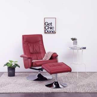 vidaXL Atlošiamas krėslas su pakoja, raud. vyno spalvos, dirbtinė oda