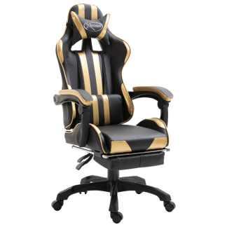vidaXL Žaidimų kėdė su atrama kojoms, aukso spalvos, poliuretano putos