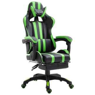 vidaXL Žaidimų kėdė su atrama kojoms, žalia, poliuretano putos