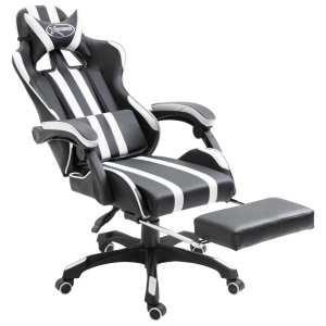 Žaidimų kėdė su atrama kojoms, balta, poliuretano putos