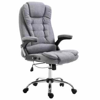 vidaXL Biuro kėdė, pilkos spalvos, poliesteris