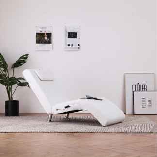 vidaXL Masažinis gultas su pagalve, baltas, dirbtinė oda