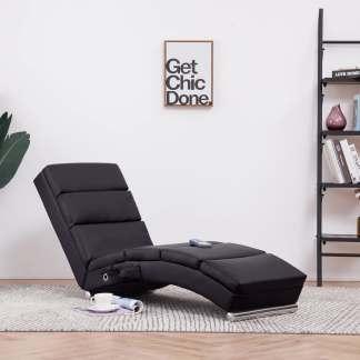 vidaXL Masažinis poilsio gultas, rudas, dirbtinė oda