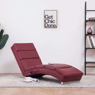 vidaXL Masažinis gultas, raudono vyno spalvos, dirbtinė oda