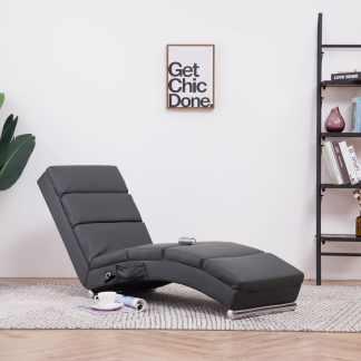vidaXL Masažinis gultas, pilkas, dirbtinė oda