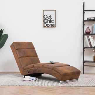 vidaXL Masažinis poilsio gultas, rudas, dirbtinė versta oda
