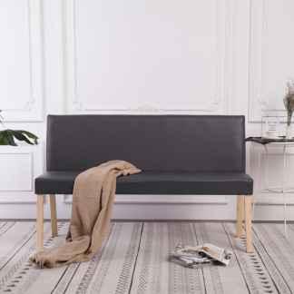 vidaXL Suoliukas, pilkas, 139,5cm, dirbtinė oda