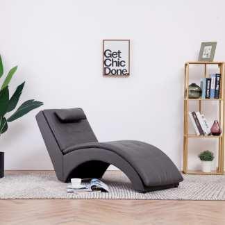 vidaXL Poilsio gultas su pagalve, pilkas, dirbtinė oda