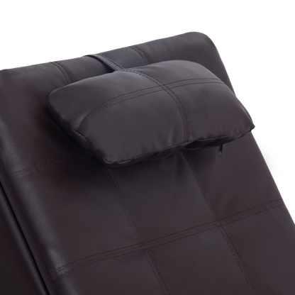 Masažinis gultas su pagalve, rudas, dirbtinė oda