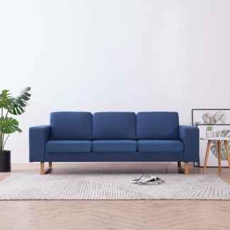 vidaXL Trivietė sofa, mėlyna, audinys