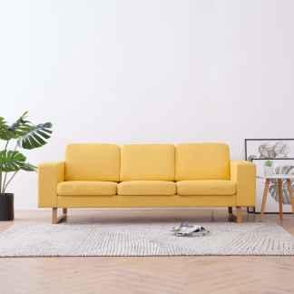 vidaXL Trivietė sofa, geltona, audinys