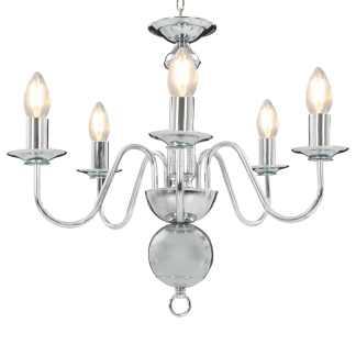 vidaXL Sietynas, sidabrinės spalvos, 5 x E14 lemputės