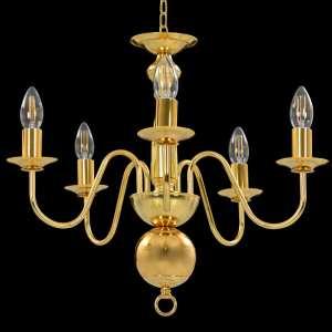Sietynas, auksinės spalvos, 5 x E14 lemputės