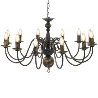vidaXL Sietynas, juodos spalvos, 12 x E14 lemputės, senovinio stiliaus