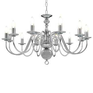 vidaXL Sietynas, sidabrinės spalvos, 12 x E14 lemputės
