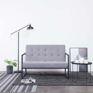 vidaXL Dvivietė sofa su porankiais, švies. pilk. sp., plienas ir aud.