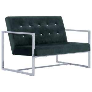 Dvivietė sofa su porankiais, tams. žal. sp., chromas ir aks.