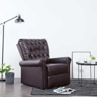 vidaXL Atlošiamas krėslas, rudos spalvos, dirbtinė oda
