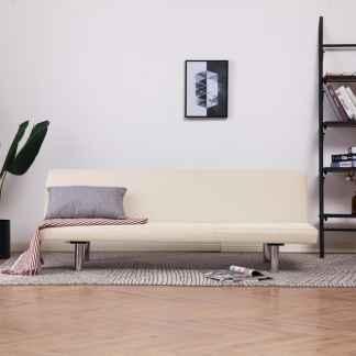 vidaXL Sofa-lova, kreminės spalvos, poliesteris