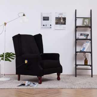 vidaXL Elektrinis atlošiamas masažinis krėslas, juodos sp., audinys