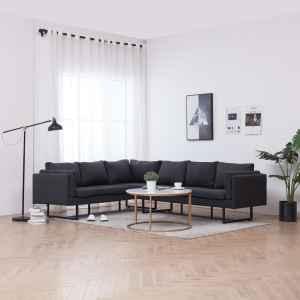 vidaXL Kampinė sofa, tamsiai pilkos spalvos, audinys