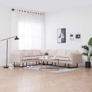 vidaXL Kampinė sofa, kreminės spalvos, audinys