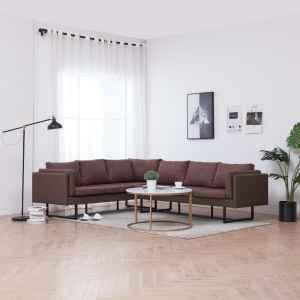 vidaXL Kampinė sofa, rudos spalvos, audinys