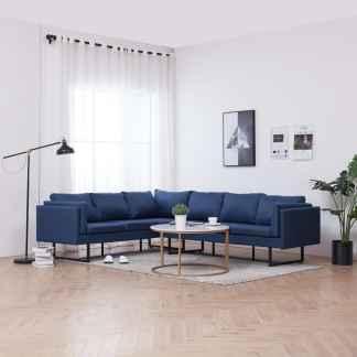 vidaXL Kampinė sofa, mėlynos spalvos, audinys