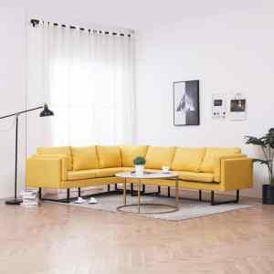 vidaXL Kampinė sofa, geltonos spalvos, audinys