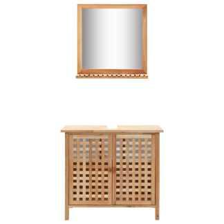 vidaXL Praustuvo spintelė su veidrodžiu, riešutmedžio medienos masyv.