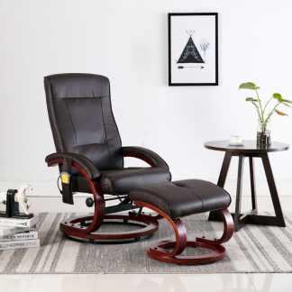 vidaXL Atlošiamas masažinis krėslas su pakoja, rudos sp., dirbt. oda