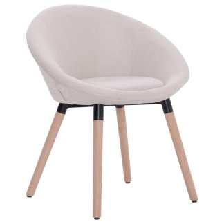 vidaXL Valgomojo kėdė, kreminės spalvos, audinys