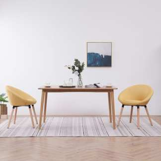 vidaXL Valgomojo kėdės, 2 vnt., geltonos spalvos, audinys
