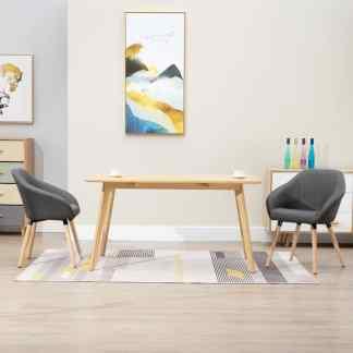 vidaXL Valgomojo kėdės, 2 vnt., tamsiai pilkos spalvos, audinys