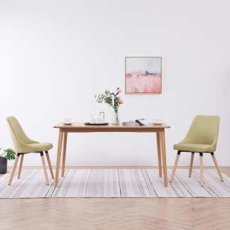 vidaXL Valgomojo kėdės, 2vnt., žalios spalvos, audinys